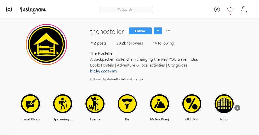 The Hosteller is extremely active on Instagram, posting about their activities and events