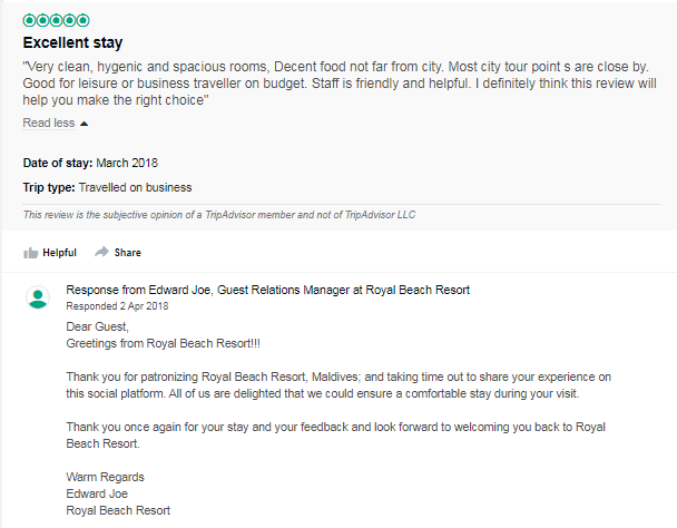 Example of positive hotel review
