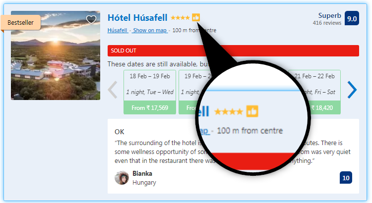 "The ""thumbs-up"" sign indicates the hotel as a preferred one, which is important to improve OTA rankings"