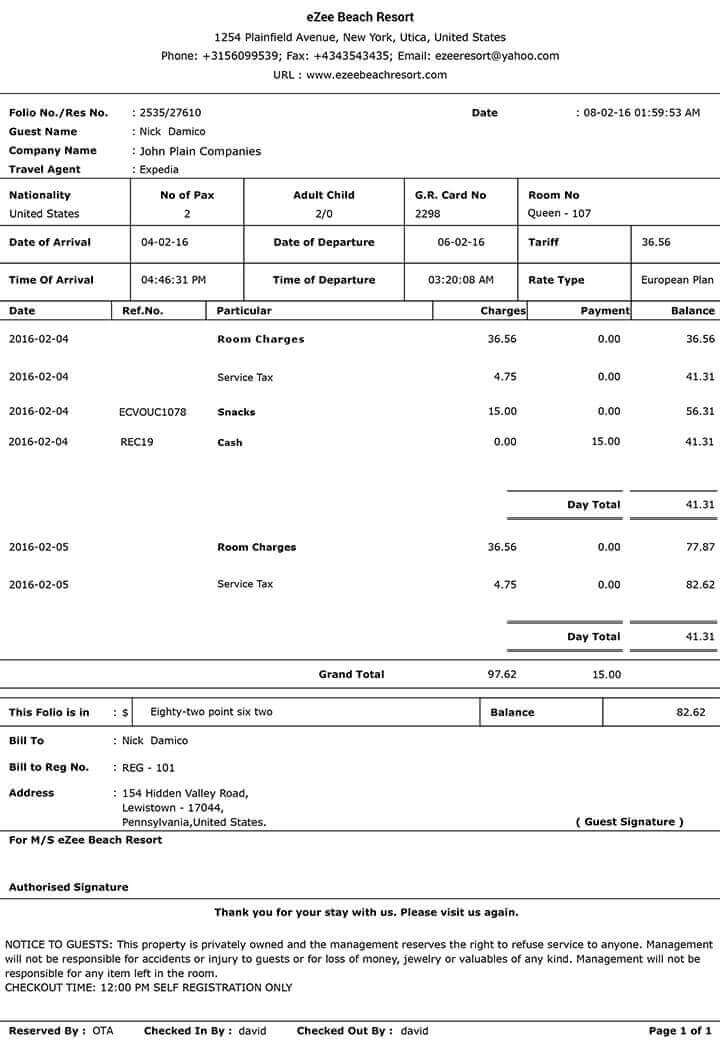 Hotel Invoices » 7+ Hotel Food Bill Format Free Download | Simple Bill